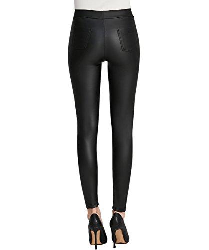 Everbellus Femmes Legging Simili Cuir avec Poches Skinny Stretch Slim Pantalon Noir