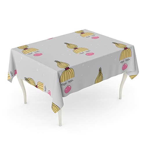 Tarolo Rectangle Tablecloth 52 x 70 Inch Colorful Pattern of Quirky Kid Pink Bubble Gum Cute Girl for Cool Balloon Beautiful Beauty Table Cloth