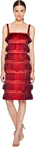 Alberta Ferretti Women's Sleeveless Tiered Fringe Dress Red Orange - Ferretti Sleeveless Alberta