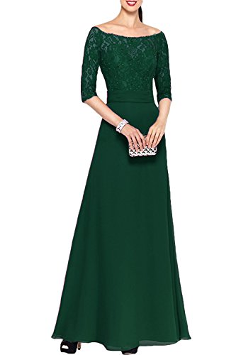 Long Sleeves XingMeng Bridesmaid Dark Shoulder Dresses Green Gowns Half Lace Off Prom EEpFr10q