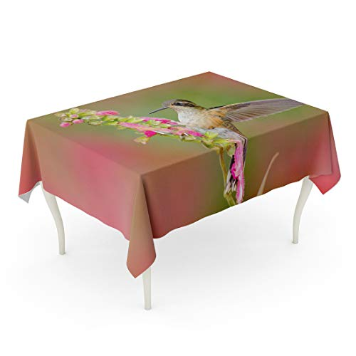 - Semtomn Decorative Tablecloth Waterproof Printed Polyester Water Resistant Oil-Proof Hummingbird Drinking Nectar from Pink Flower Feeding Scene with Speckled Bird Rectangle Table Cloth 60 x 84 Inch