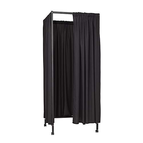 Don't Look at Me - Portable Changing Room Divider - Black Frame with Black Blackout Fabric and Casters