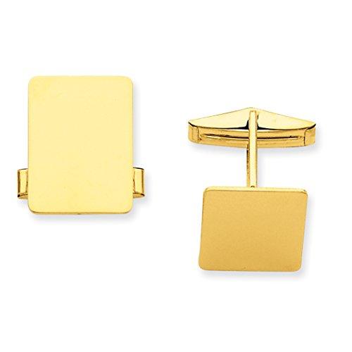 14K Yellow Gold Rectangular Cuff Links for Mens ()