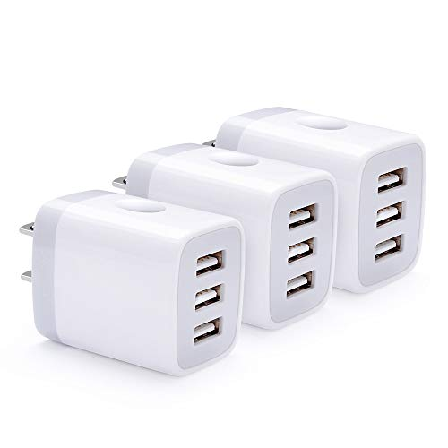 3 Ports Phone Charger Box, USB Power Adapter, HUHUTA 3.1A 3-Pack Travel Adapter Charging Brick Base Plug Replacement for iPhone iPad, Samsung Galaxy, LG, Moto, and More
