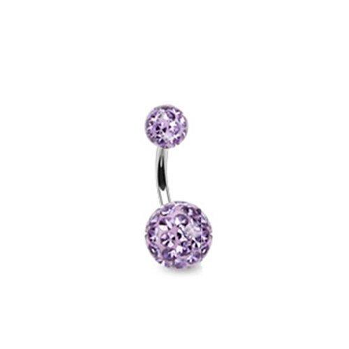 Coolbodyart piercing de nombril avec cristaux ferido «2» clair cristaux ferido epoxd multikristallkugel, tanzanit (violet)