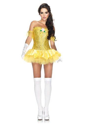 Leg Avenue Women's 3 Piece Enchanting Beauty Costume, Yellow, Medium (Sexy Adult Disney)