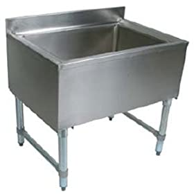 John Boos EUBIB-12-3621 Stainless Steel Underbar Ice Bin with Galvanized Legs, 36″ Length x 21″ Width