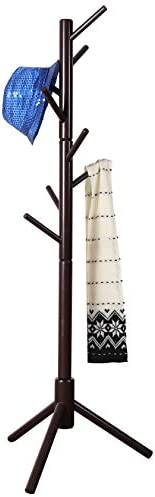 Neasyth Kid s Wooden Coat Rack, Free Standing Tree Hanger 8 Hooks Organizer Furniture in Living Room, Bedroom, Entryway for Hat, Scarves, Satchel, Umbrella Etc. Easy Assembly Coffe