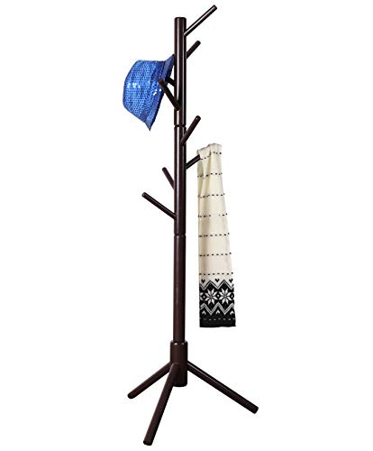 """Neasyth Kid's Wooden Coat Rack, Free Standing Tree Hanger 8 Hooks Organizer Furniture in Living Room, Bedroom, Entryway for Hat, Scarves, Satchel, Umbrella Etc. Easy Assembly (Coffe) - 【Children's Exclusive Space】Give the child a growing gift """"items organizer"""", teach them to organize their living items and train their independence. They can also accompany them through a beautiful childhood. 【Humanized Design】3 prong legs Achieve stability and balance to the tree stnading rack, ensuring it won't fall down when hanging the kids coat, backpack etc. 8 tree branches with very reasonable angles, easy to hang and will not fall. 【Easy Assembly】We removed the traditional assembly method that screwed with a screwdriver, By inserting the screws into the wood and rotate the wood by hand to assemble, very easy. - entryway-furniture-decor, entryway-laundry-room, coat-racks - 31SGSmT n7L -"""