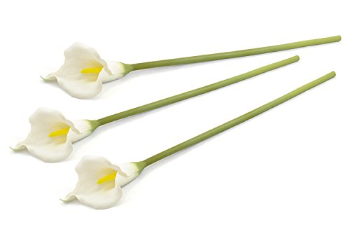 DII 3 Piece Artificial Cala Lily - Natural Silk Flowers For Bridal Bouquet, Home Decoration, DIY, Arts & Crafts Project, Garden, Office Decor, Centerpiece Décor - White