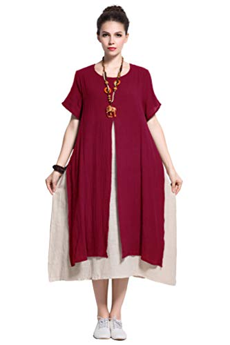 - Anysize Fake-Two-Piece Soft Linen Cotton Dress Spring Summer Plus Size Clothing Y110 Dark Red