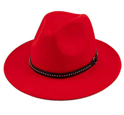 (Lanzom Womens Classic Wide Brim Floppy Panama Hat Belt Buckle Wool Fedora Hat (One Size,)