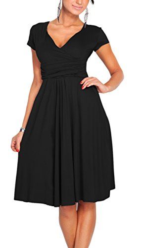 Sleeve Ruched V Short Empire Cocktail Black and Afibi Dress Fit Waist Neck Flare q5w6REUx
