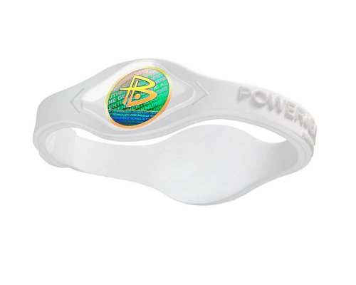Power Balance Silicone Wristband Bracelet Medium (White with White Letters)