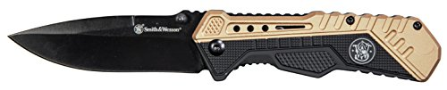 Smith & Wesson SWSA11 8in Stainless Steel Assisted Opening Knife with 3.5in Drop Point Blade and Aluminum Handle for Outdoor, Tactical, Survival and EDC
