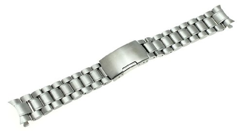RECHERE Stainless Steel Bracelet Watch Band Strap Curved End Solid Links Color Silver (20mm)