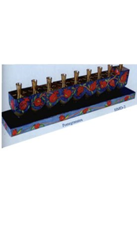Yair Emanuel Wooden Hand painted Pomegranate design Removable Dreidel Hanukkah Menorah For Candle Use.