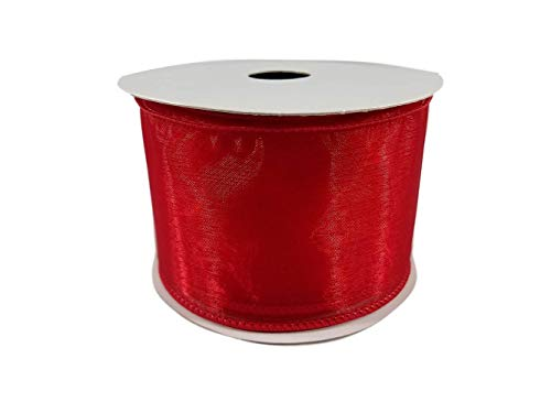 (Organza Wired Edge Sheer Ribbon for Gift Wrapping, Bows, Wedding Favors, Party Decorating and Crafts, 2.5 Inches by 25 feet (Red))