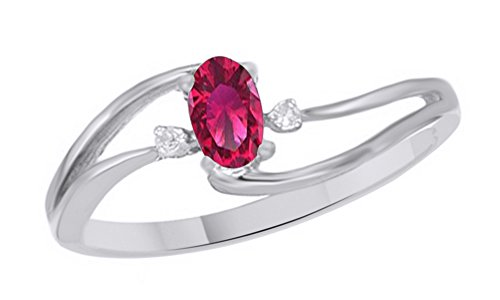 Jewel Zone US Simulated Ruby & White Natural Diamond Solitaire Bypass Engagement Ring in 10k Solid Gold (0.25 Cttw) (2 Carrot Diamond Engagement Ring)