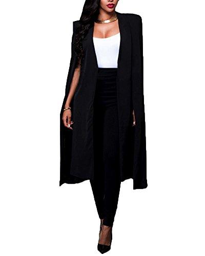 Femme Cardigan Manteau Costume Blazer Longue Capuchon Cape Veste Noir