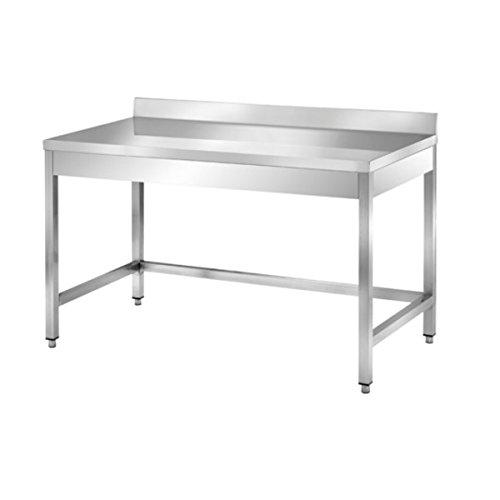 Tavolo in acciaio inox senza ripiano di fondo con alzatina dim.cm 40x60x85h GAGGIOLI