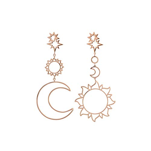 Fashion Vintage Earrings for Women Star Sun Moon Hollow Earrings Metal Alloy