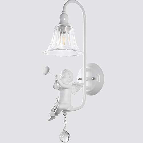 LCLZ Modern Minimalist E14 Resin Angel Blowing Horn Bird Bedroom Bedside lamp Wall lamp led Crystal Glass Sconces ()