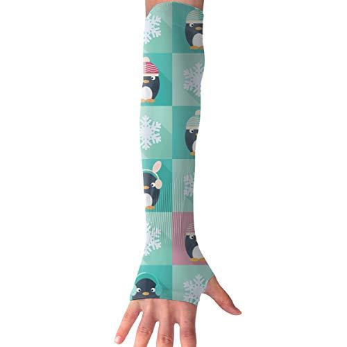 MASDUIH Childish Penguins Snowflakes Gloves Anti-uv Sun Protection Long Fingerless Arm Cooling Sleeve