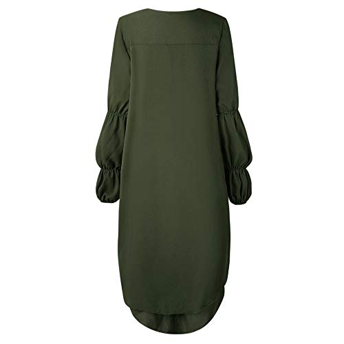 Camicia Shirt Elegante Girocollo Lunga Forti Vestito Sciolta Lungo Verde a Asimmetrico da T Manica Camicetta con Camicia Top Felpa Donna Casual Camicie Balze Blouse Taglie Tunica Longra ZwOca