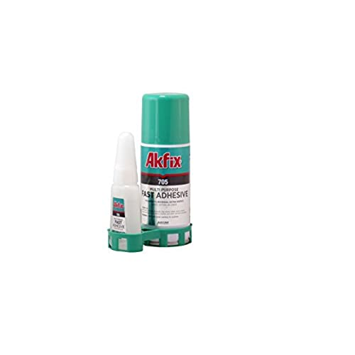 good Akfix 705 Fast Adhesive CA Glue (1.76 oz.) with Activator (6.76 fl oz.) [Clear Super Glue Adhesive and Accelerator Spray]