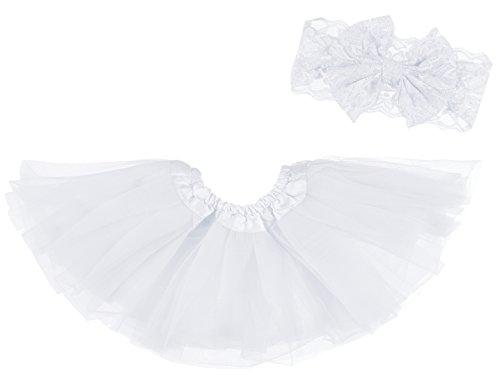 Dancina Baby Girls Tutu Headband Set 6-24 Months White ()