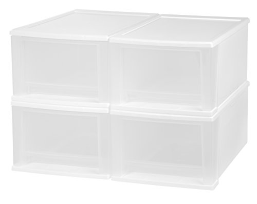 IRIS 17 Quart Stacking Drawer, 4 Pack, White