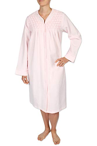 Miss Elaine Women's Short Terry Knit Robe with Two Side Pockets, Long Sleeves, and a Round Neckline - Miss Elaine Short
