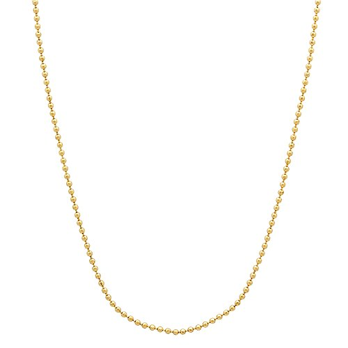 24K Gold Plated Thin 1mm Military Style Ball Link Chain Necklace, 16
