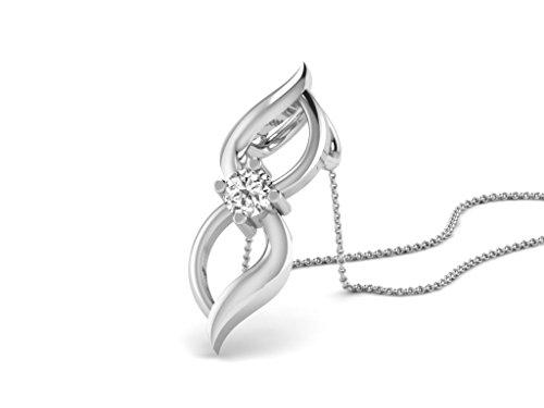 Or Blanc 14 ct Pendentifs Diamant , 0.05 Ct Diamant, GH-SI, 0.49 grammes.