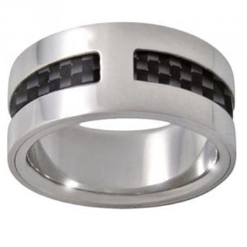 Zoppini Stainless Steel Carbon Fibre Ring ()