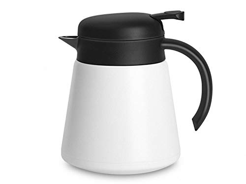 Luvan 304 18/10 Stainless Steel Thermal Carafe/Double Walled Vacuum Insulated Coffee Pot with Press Button Top,24+ Hrs Heat&Cold Retention,BPA Free,for Coffee,Tea,Beverage etc (White, 27 OZ) ()