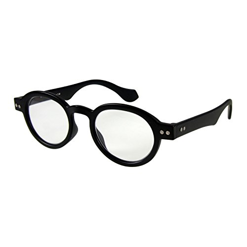 Round Eyeglass Black Frame Reading Glasses Prescription Eyeglasses For Men & Women Spring Hinge Plastic Eyeglasses With Strength +2.5 by I NEED YOU from I NEED YOU
