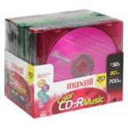 Maxell CD-R 20 Pack, 700 MB 32X 80 Minutes Color