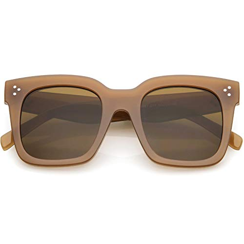 zeroUV - Bold Oversize Tinted Flat Lens Square Frame Horn Rimmed Sunglasses 50mm (Shiny Brown/Brown) ()