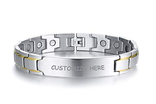 (Personalized Custom Stainless Steel Magnetic Therapy Bracelet Silver Gold with Links Removal Tool )