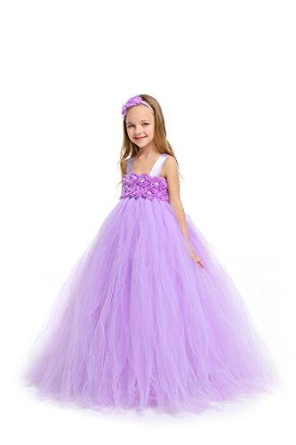 MALIBULICo Baby Girls' Lavender Fluffy Flower Girl Tutu Dress with Headband for Wedding and Birthday Photoshoot