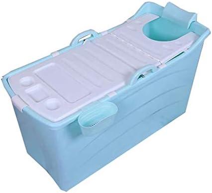 DSJMUY折りたたみ浴槽ポータブル浴槽浴槽シャワーブース柔軟なプラスチック大人サイズ折りたたみブルー120×52×68センチ