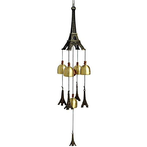 5 Bells Wind Chime Eiffel Tower Good Luck Copper WindChime Beautiful Decor for Outdoor Indoor Patio Garden - Bell Tower The Shops