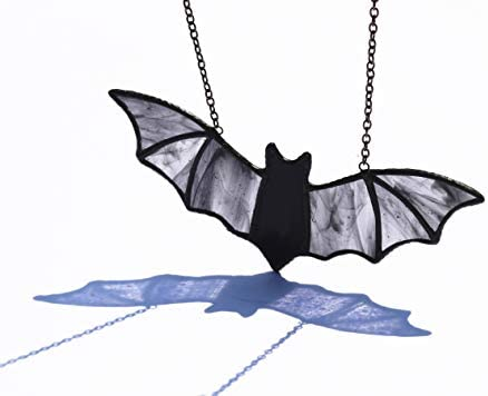 HAOSUM Halloween Decor Stained Glass Bat Window Hanging Ornaments 7.1 3.0 inch