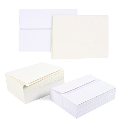 (100-Piece A7 Envelopes and 100-Sheet Half-Fold Greeting Card Paper - 5.25 x 7.25 Inch White Square Flap Envelopes - Off White 5 x 7 Inch Greeting Card Paper)