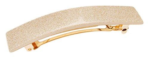 France Luxe Classic Rectangle Barrette - Gold Glitter/Beige