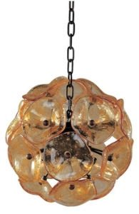 ET2 E22090-26 Fiori 8-Light Single Pendant, Bronze Finish, Amber Murano Glass, G9 Xenon Bulb, 1.5W Max., Dry Safety Rated, 2900K Color Temp., Low-Voltage Dimmable, Glass Shade Material, 5250 Rated Lumens