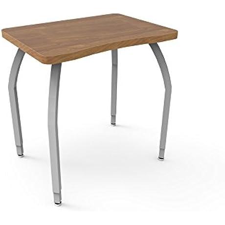 ELO Plymouth II Desk Wild Cherry Laminate Banding W 4 Junior Adjustable Smooth Silver Legs
