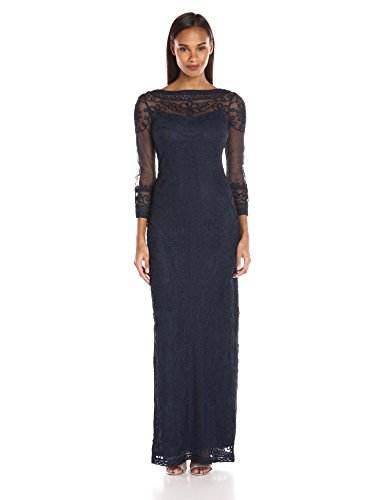 JS Collection Women's Long-Sleeved Mesh Soutache Embroidered Dress, Navy, 8